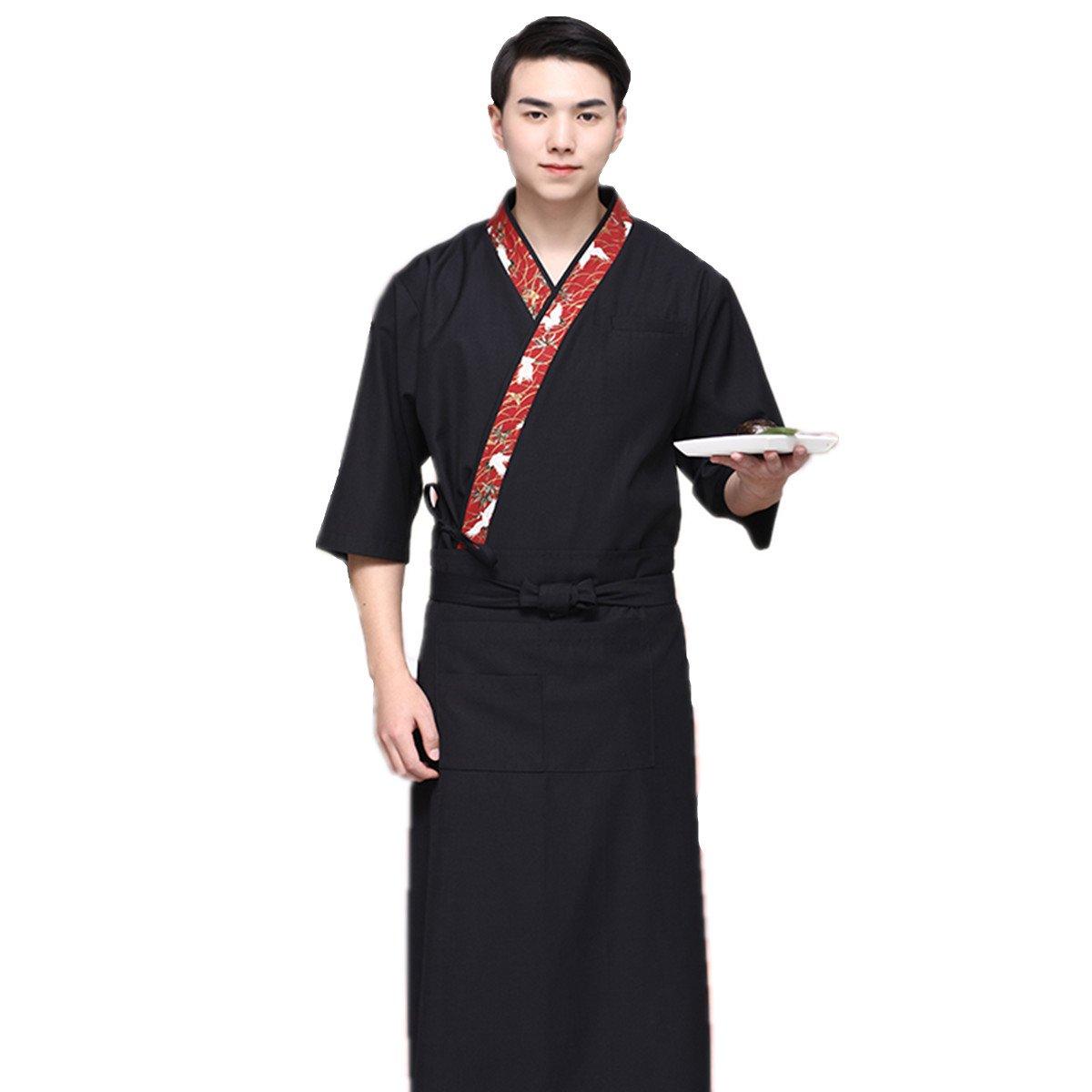 XINFU Sushi Chef White Crane 3/4 Long Sleeve Restaurant Japanese Kimono Kitchen Work Uniform