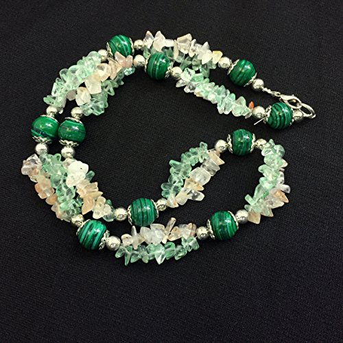 Long Green Teal Cream Twist Necklace, Malachite quartz, Boho Chic, Unique OOAK Handmade ALFAdesigns