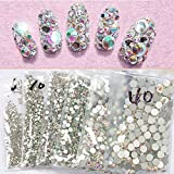 nails gems - Top Quality SS3 AB 1440pcs Crystal AB Color Super Shiny Nail Art Rhinestones Flat Back Non Hotfix Strass Stone 3D Nail Decorations Gems Accessories Manicure