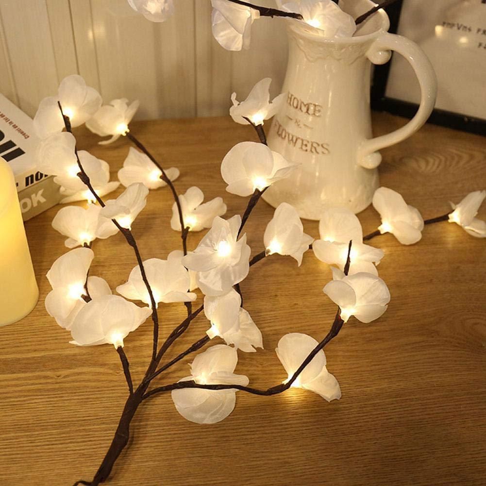 Bianco Caldo. LED Lampada da Ramo 20 LED Simulazione Phalaenopsis Lampada da Giardino Decorativa per Feste di Natale Kitabetty Luce Ramo LED