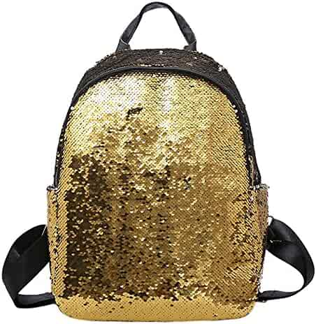 HOSPORT Women Sequins Backpack, Fashion School Bags Mini Casual Glitter  Rucksack for Girls 41e565692b