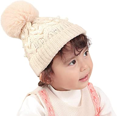 K-Youth Sombrero Bebe Niña Invierno Bolas de Felpa Sombreros de ...