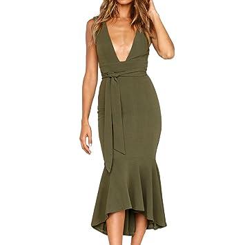 c57057276716 Sommerkleider damen 🔥LMMVP🔥 Frauen Party Kleid V-Ausschnitt Kleid  Etuikleid Strandkleid V-