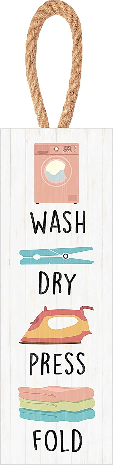 P. Graham Dunn Wash Dry Press Fold Laundry White 10 x 4 Solid Pine Wood Decorative String Sign
