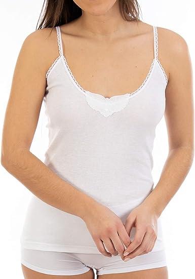 Camiseta Interior Cálida de Mujer L143, Punto Liso de algodón, Tirante Fino y Cuello de Pico con puntilla y Bordado. Pack Ahorro de 6 Unidades de la Misma Talla y Color.: Amazon.es:
