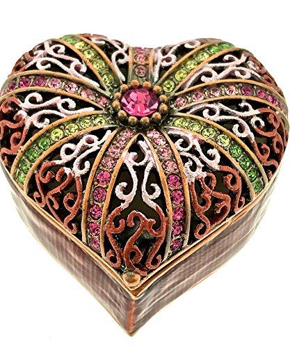 Heart Shape Filigree Jewelry Trinket Box Pewter Bejeweled Swarovski Crystals Enameled Hinged Collectibles Heirloom Keepsake Valentine's Present