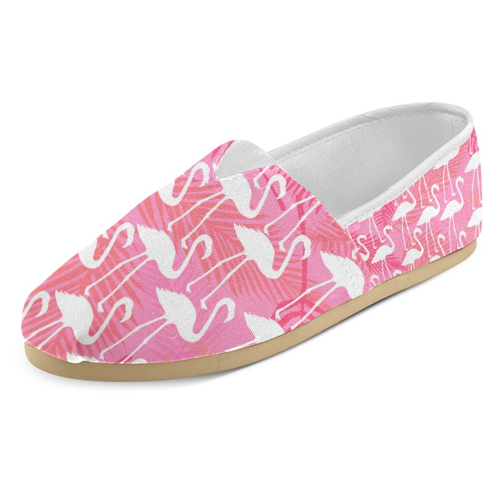 InterestPrint Women's Loafers Classic Casual Canvas Slip On Fashion Shoes Sneakers Flat Size 9 Flamingos Love Birds Romance