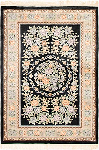 Rug Knotted Stately Hand - eCarpet Gallery Hand-Knotted | Area Rug for Living Room, Bedroom | Aubousson Harrir Bordered Black Rug 5'6