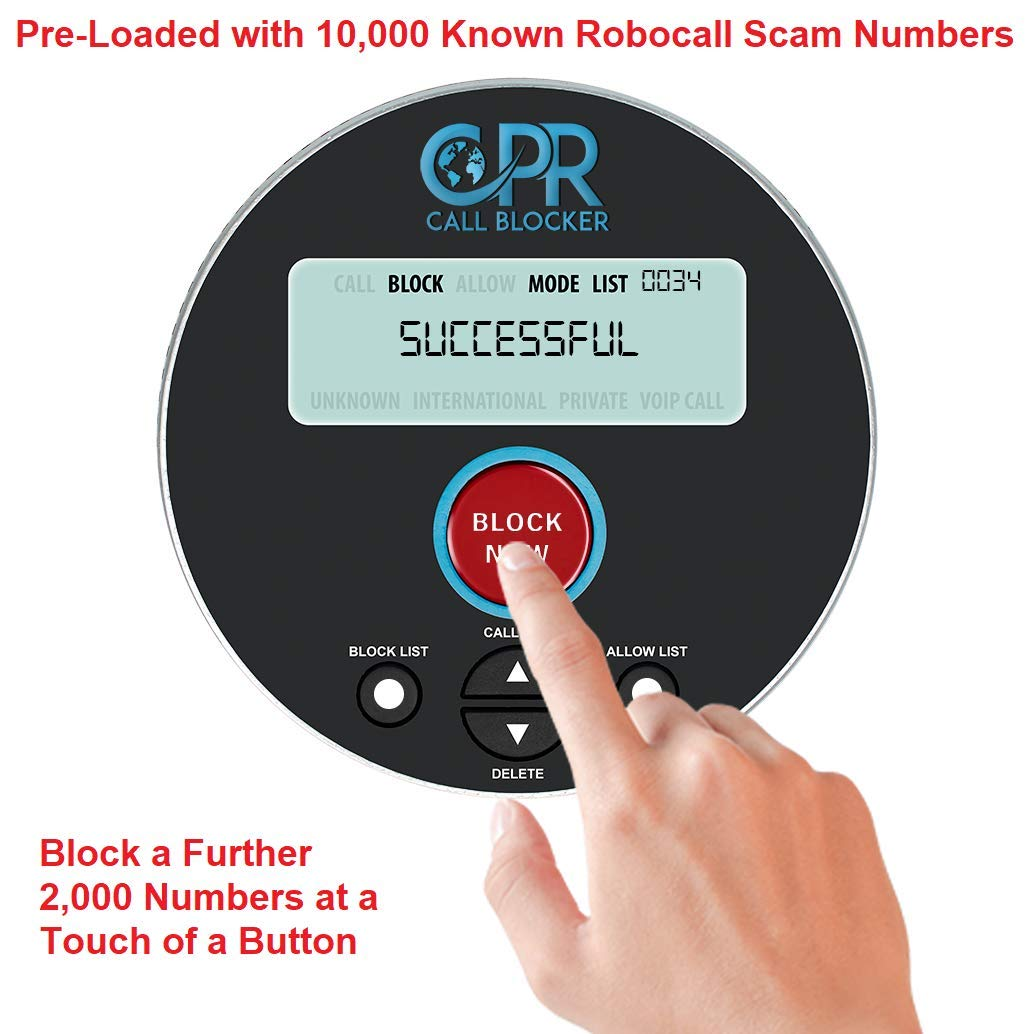 CPR V10000 Call Blocker for Landline Phones  Dual Mode Protection   Pre-Loaded with 10,000 Known Robocall Scam Numbers - Block a Further 2,000  Numbers
