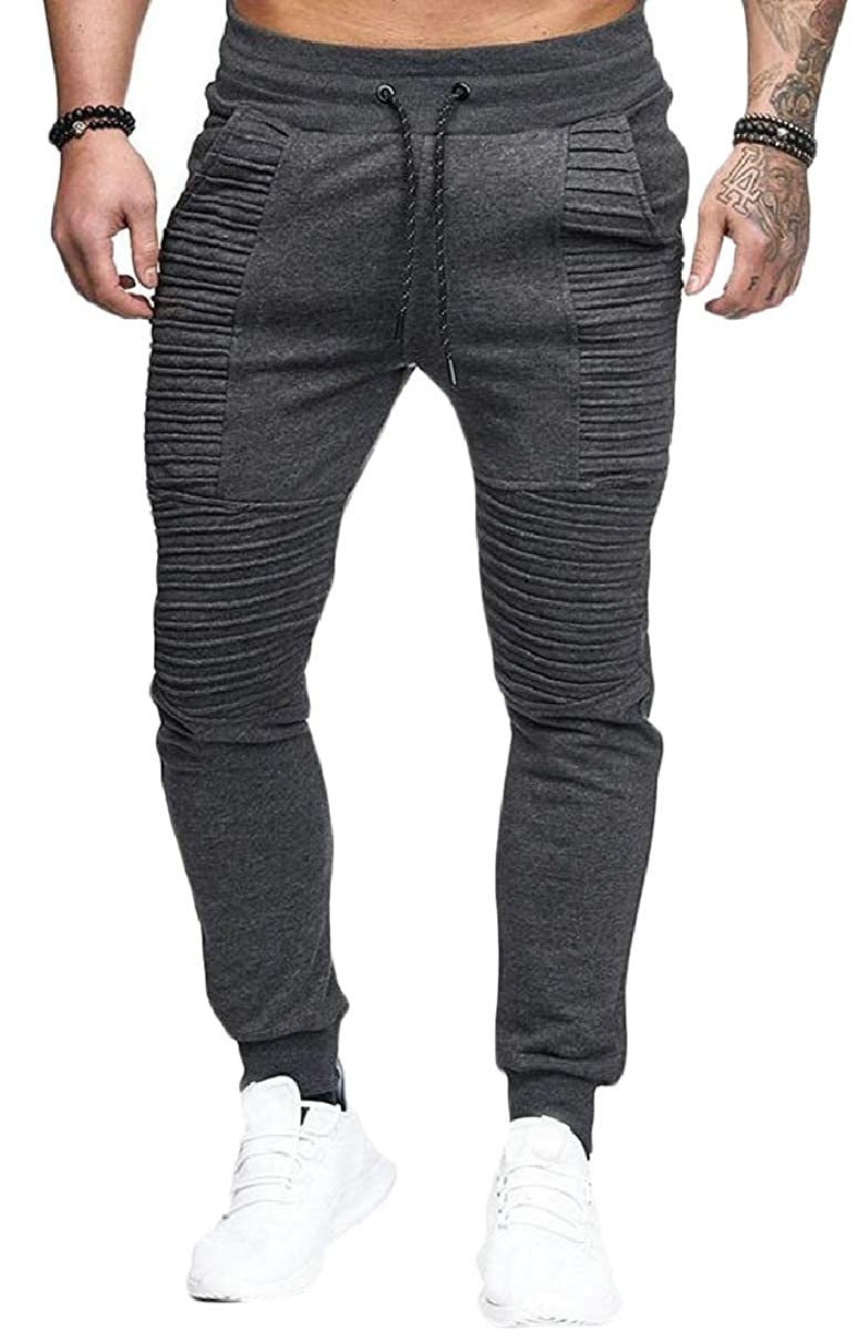 ZXFHZS Mens Hip Hop Stripe Ruched Solid Thick Jogging Pants Trousers