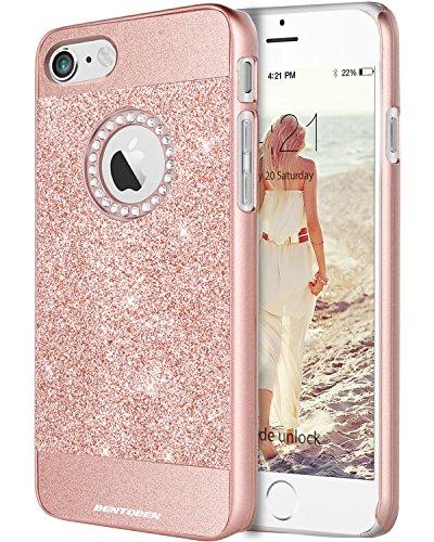 iPhone 7 Case, BENTOBEN Sparkly Rhinestone Glitter Bling Hybrid Slim Hard Cover Laminated with Luxury Shiny Synthetic Leather Protective Case for iPhone 7 (4.7 inch), Rose (Rhinestone Bling Hard Case)