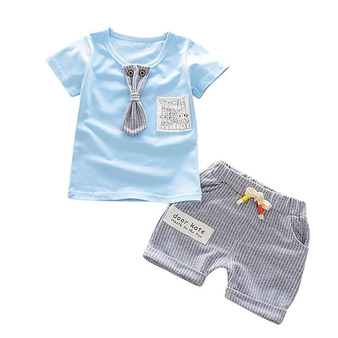 Dragon868 Conjuntos de Ropa, Bebés niño de Verano de Manga Corta Camiseta + Pantalones Caballero