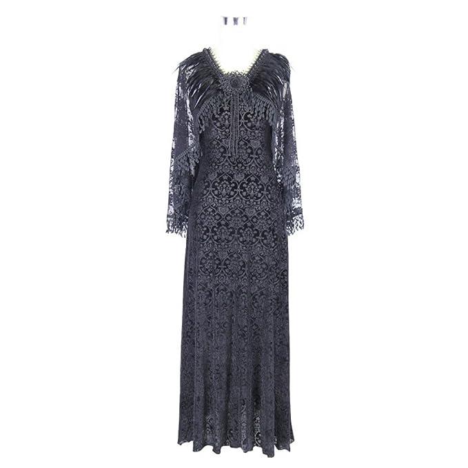EvaLady Vestidos Largos Lisos Negros góticos sin Mangas de Las Mujeres Vestidos de Fiesta Largos con
