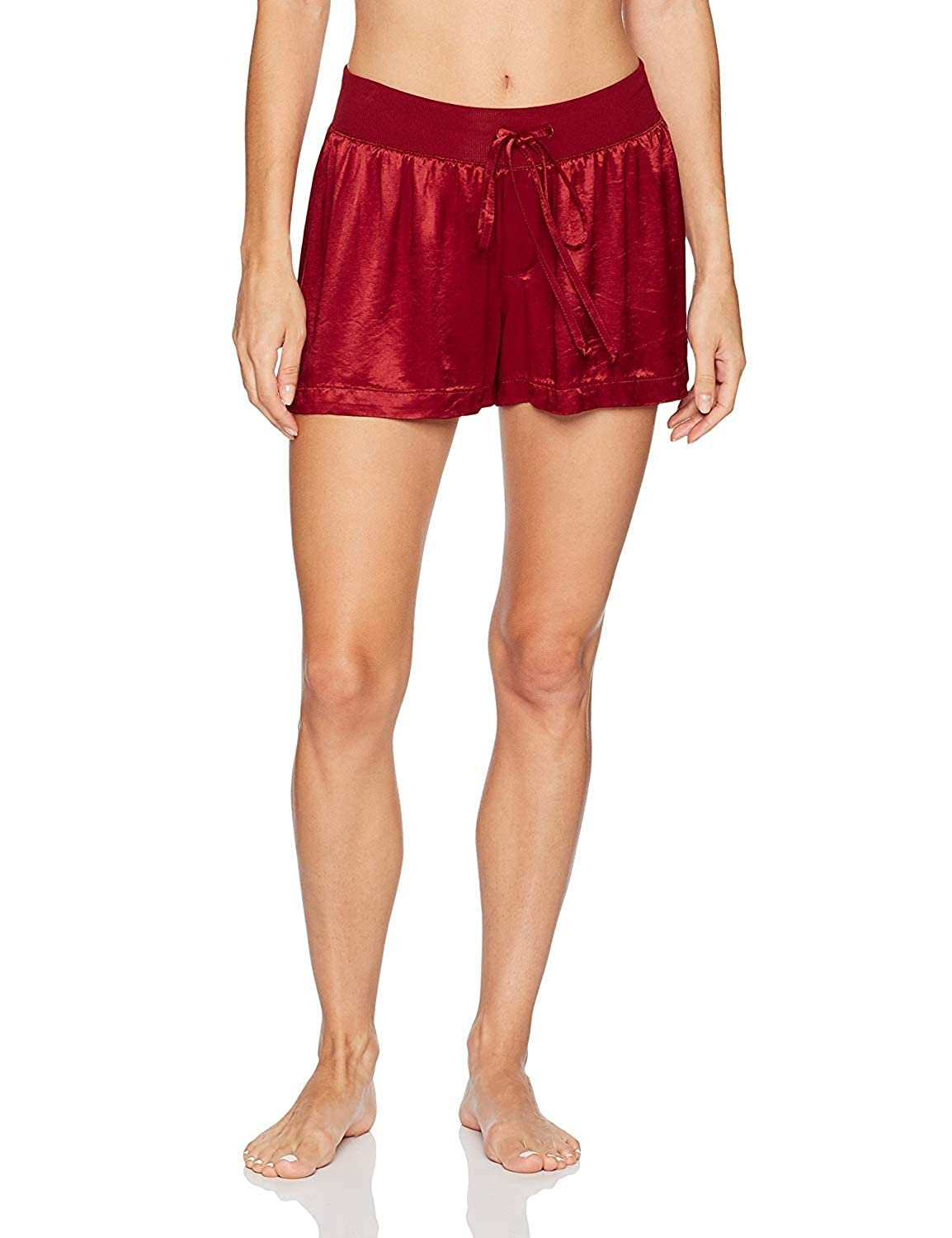 Red PJ Harlow Women's Mikel Satin Boxer Short with Draw String  PJSB5