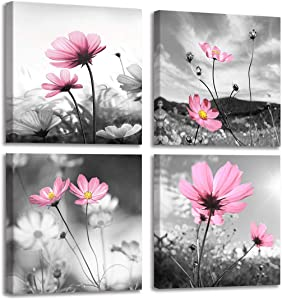 """Pink Flower Wall Art for Women Girls Bedroom Peacock Flower Abstract Canvas Painting Artistic Black and White Prints Picture Decor for Living Room 14x14"""""""