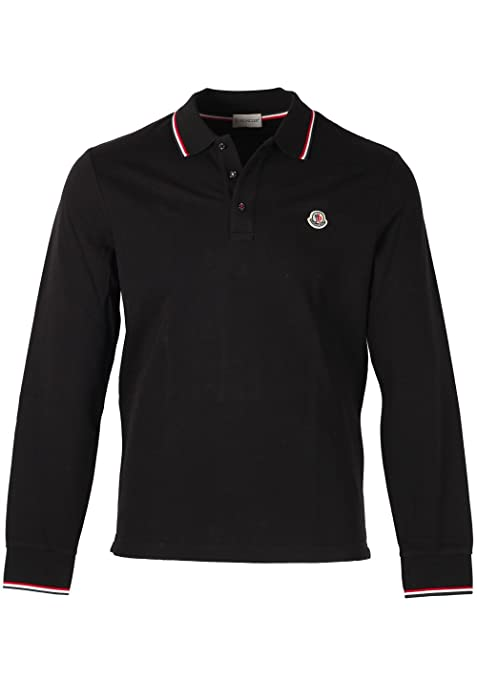 MONCLER CL Black Long Sleeve Polo Shirt Size L / 40R U.S.: Amazon ...