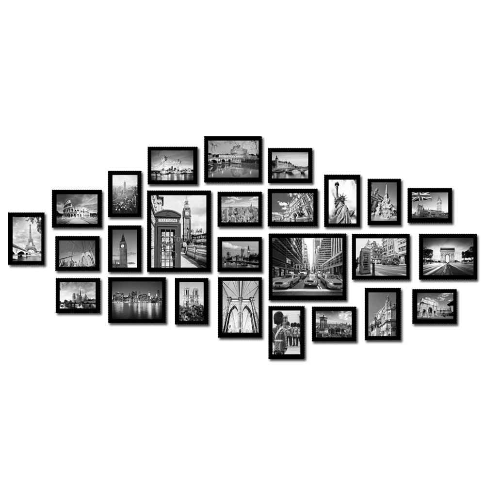 Large multi picture photo frames wall set 26 pieces set black large multi picture photo frames wall set 26 pieces set black amazon kitchen home jeuxipadfo Images