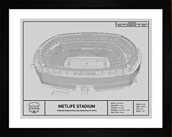 Amazon new york jets metlife stadium framed blueprint wall new york jets metlife stadium framed blueprint wall art malvernweather Image collections