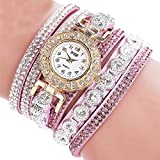 Rhinestone Bracelet Watch,COOKI Analog Fashion Clearance Lady Watches Female watches on Sale Casual Wrist Watches for Women,Round Dial Case Comfortable PU Leather Watch-H14 (Purple)