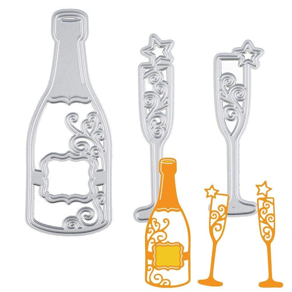 Bottle and Glass Hemore Creative DIY Metal Handmade Craft Cutting Dies Scrapbooking Embossing Album Refills Paper Card Stencil