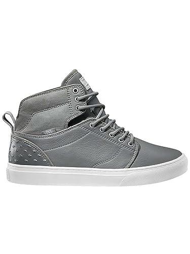 Vans Men Alomar Leather Hi Sneaker Skate Boot Shoes (8.5, Diamond Grey/White