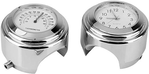 AMAS The Best Term/ómetro universal para manillar de moto Term/ómetro de metal cromado