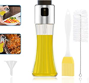 GeeRic Oil Sprayer for Cooking 180ML Capacity Food-Grade Glass Bottle Vinegar Mist Spray Dispenser for Cooking BBQ Salad with Oil Funnel Basting Brush & Cleaning Brush