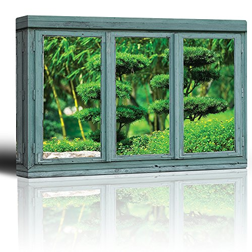 Vintage Teal Window Looking Out Into a Japanese Garden with Sculpted Trees