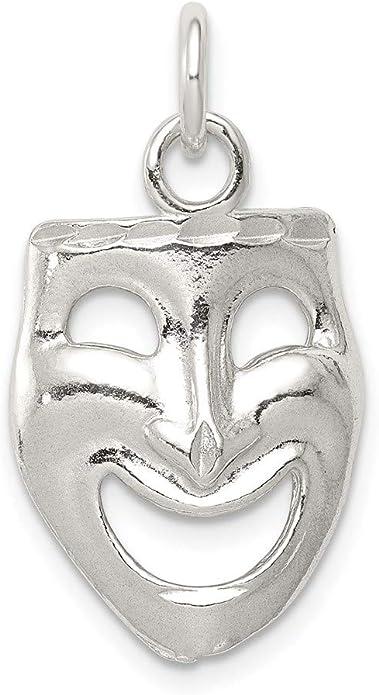 Sterling Silver .925 Pendant Drama Theatre Mask Happy Sad Face Unisex Jewellery Necklace Charm Gift Idea