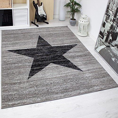 Jugendzimmer Teppich Design, Sternmuster, Meliert in Schwarz, Grau - ÖKO TEX Zertifiziert, Maße:120 cm x 170 cm