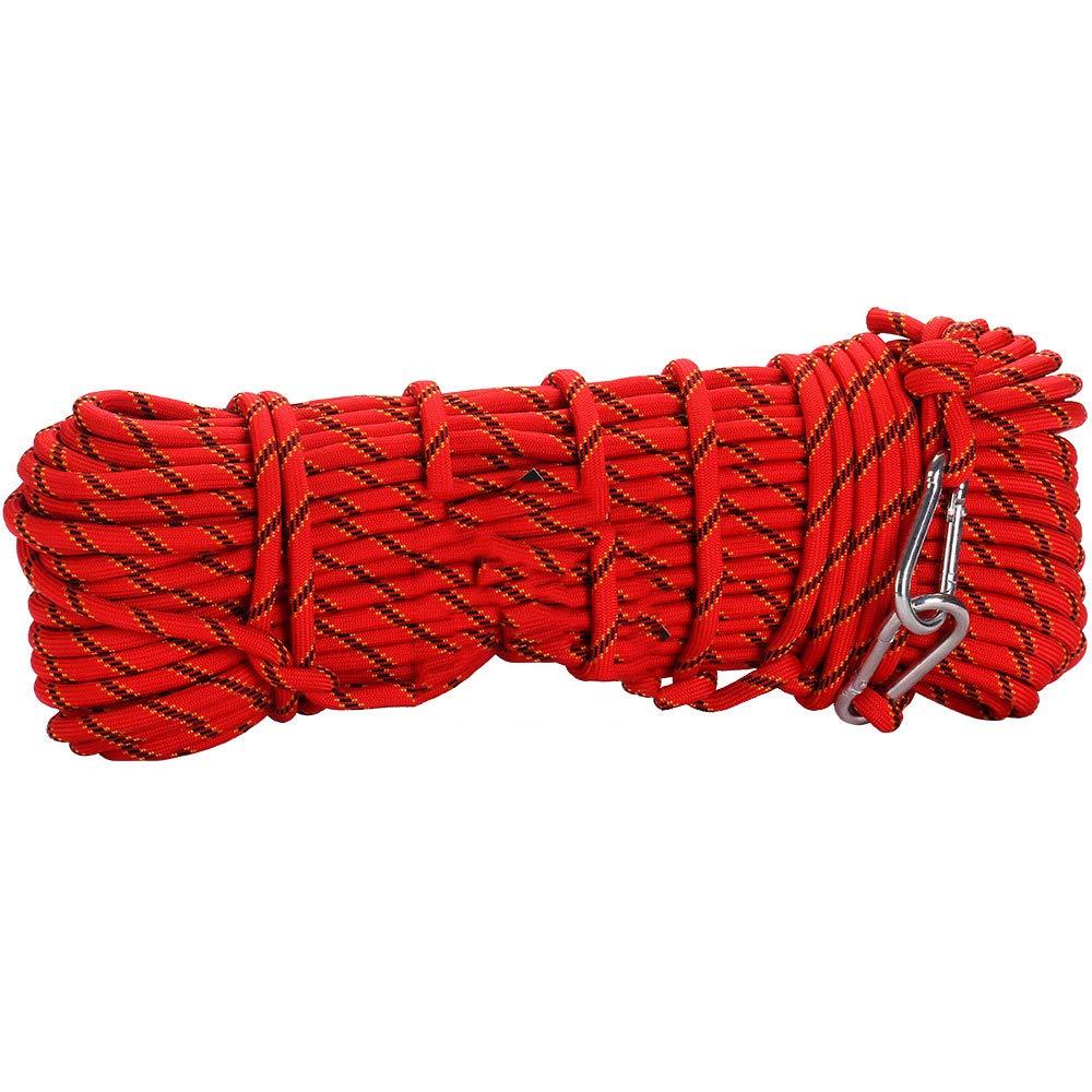 Rouge Corde De Sauvetage en Plein Air Corde De Sécurité d'escalade Corde d'escalade Assurance Escape Rope Wild Walking équipement De Survie 15m
