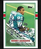 "1989 TOPPS TRADED BARRY SANDERS #89 AUTOGRAPH INSCRIBED ""TIMOTHY 2:22"""