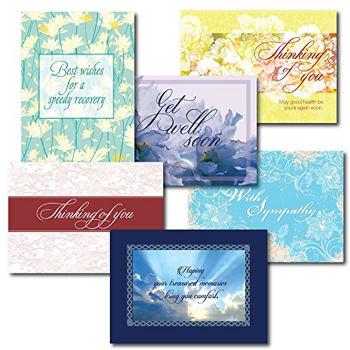 Get Well and Sympathy Greeting Card Assortment. Three Get Well and three Sympathy designs, each with a different verse. Tell recipients that you care.