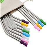 LIFNY 12Pcs Reusable Straws Variety Size Stainless Steel Straws with 12Pcs Silicone Tips for 20 and 30Ounce Yeti/Rtic Tumblers Extra 4Brushes Plus Red Storage Pouch