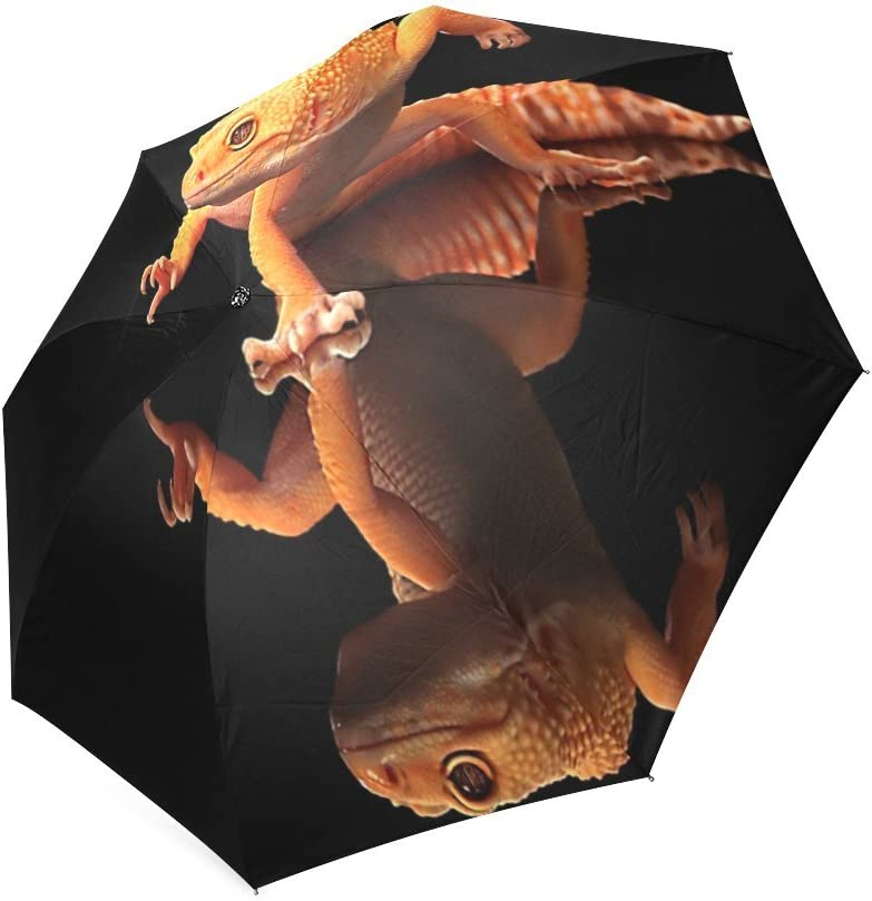 Custom Animal Chameleon Lizard Compact Travel Windproof Rainproof Foldable Umbrella