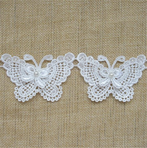 2 Yard Butterfly Bow Pearl Lace Edge Trim Ribbon 5 cm Width Vintage Style White Edging Trimmings Fabric Embroidered Applique Sewing Craft Wedding Dress Embellishment DIY Decor Clothes Embroidery