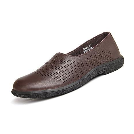 GLSHI Zapatos de Hombre de Cuero 2018 Nuevo Primavera Verano Mocasines y Sandalias Antideslizantes Zapatos Confort