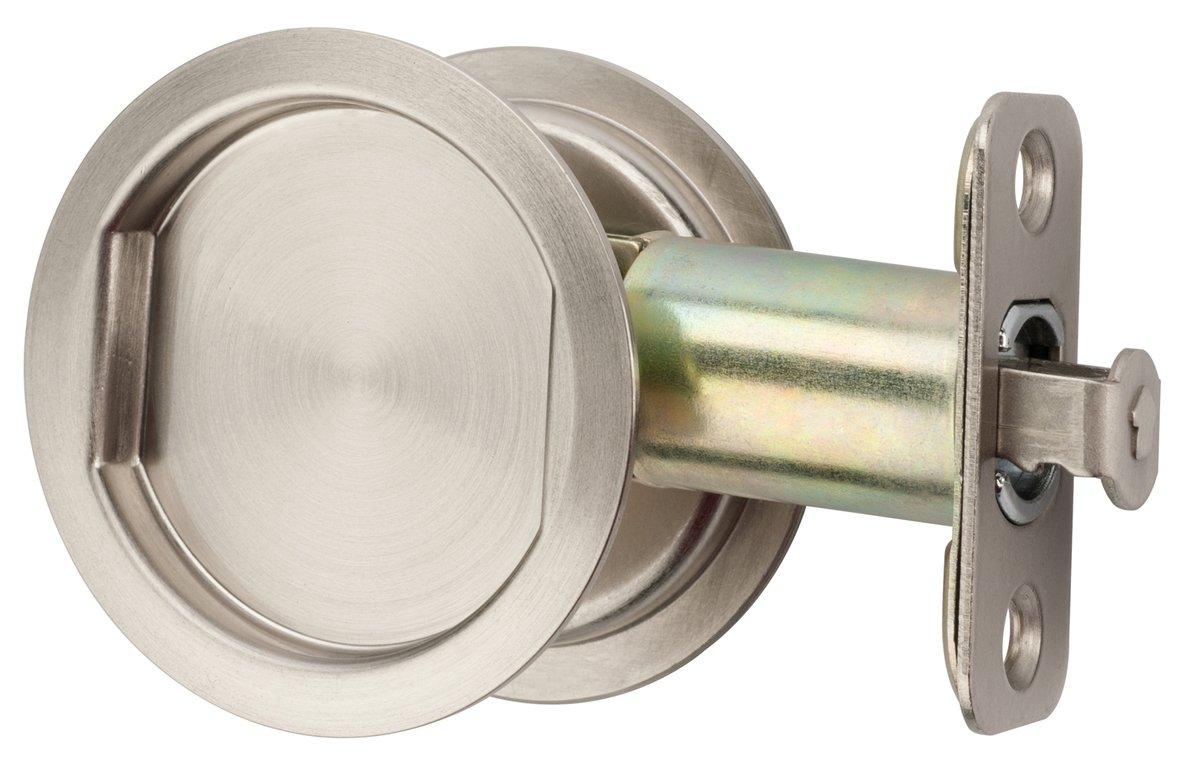 Citiloc Round Hall / Closet Passage Pocket Door Latch Satin Nickel
