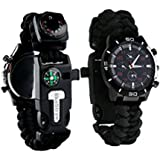CHANGKU Survival Watch 16 in 1 Multifunctional Water Resistant Survival Tactical Emergency Bracelet Hiking Camping Kit Military Grade Paracord Fire Starter Compass Thermometer Whistle Fishing