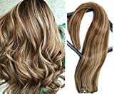 Clip in Hair Extensions Medium Brown with Strawberry Blonde Highlights Human Hair 7 Pieces 70g Clip on for Full Head Silky Straight Weft Remy Real Hair (15 inches, #4-27)
