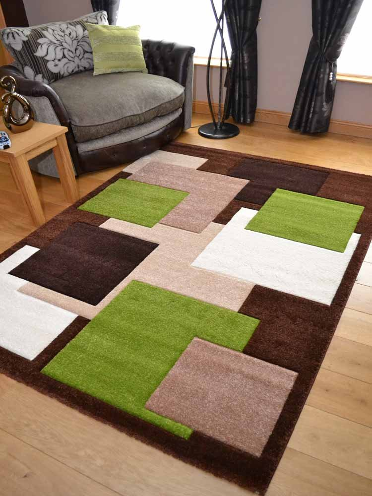Tempo Brown Green Square Design Thick Quality Modern Carved Rugs. Available  In 6 Sizes (120cm X 170cm): Amazon.co.uk: Kitchen U0026 Home