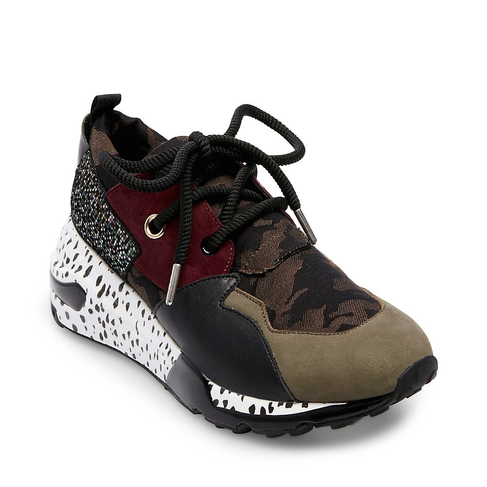 Steve Madden Women's Cliff Sneaker B07D6ZZJWY 9 B(M) US|Olive Multi
