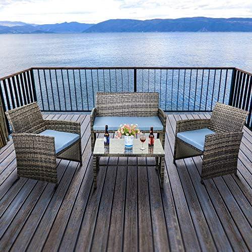 Feelway 4 Piece Patio Furniture Set Outdoor PE Wicker Sofa Garden Lawn Pool Backyard Rattan Sofa Conversation Set w Cushions Pillows Blue