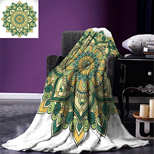 - smallbeefly Mandala Super Soft Lightweight Blanket Asian Style Ethnic Dahlia Petals Eastern Illustration Print Oversized Travel Throw Cover Blanket Jade Hunter Fern Green Apricot