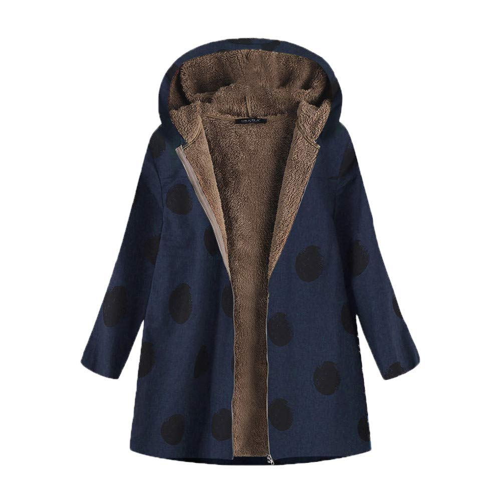 Mysky Winter Womens Vintage Dot Print Hooded Pockets Jacket Outwear Ladies Casual Keep Warm Oversize Coats