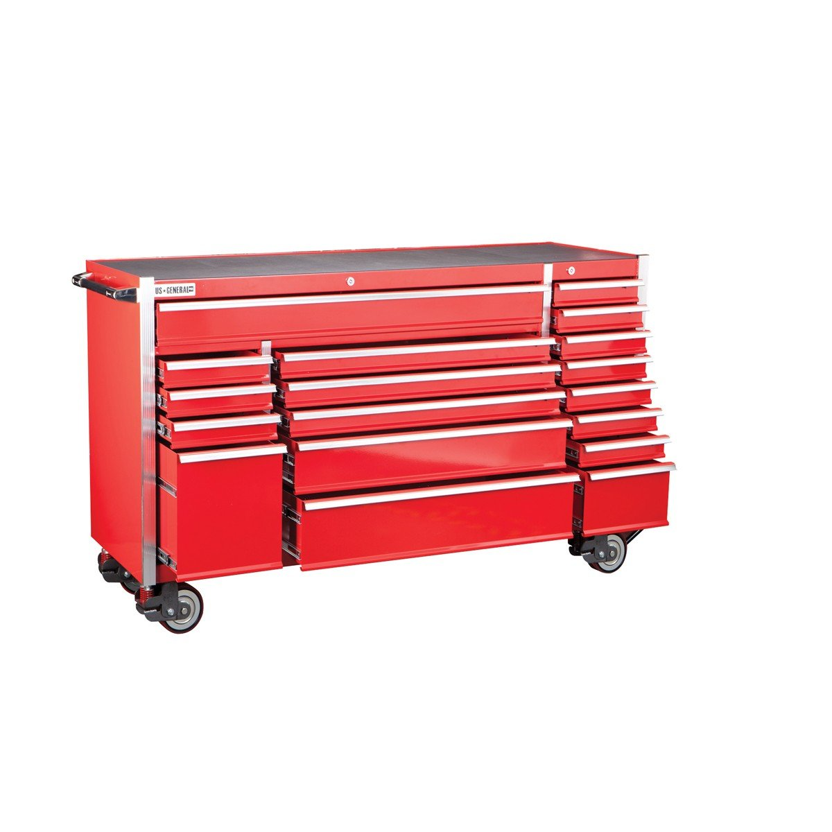 72 Inch 18 Drawer Glossy Red Industrial Roller Cabinet; Loading Capacity of 4602 Lb. by US General B01L0FVUA2