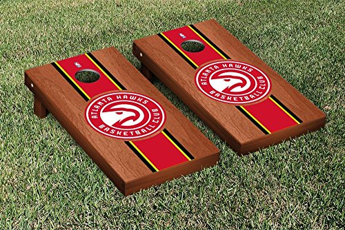 Atlanta Hawks NBA Basketball Regulation Cornhole Game Set Rosewood Stained Stripe Version by Victory Tailgate