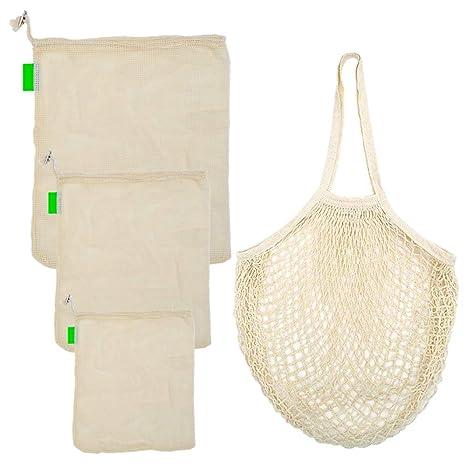 4 bolsas reutilizables de malla de algodón para la compra ...