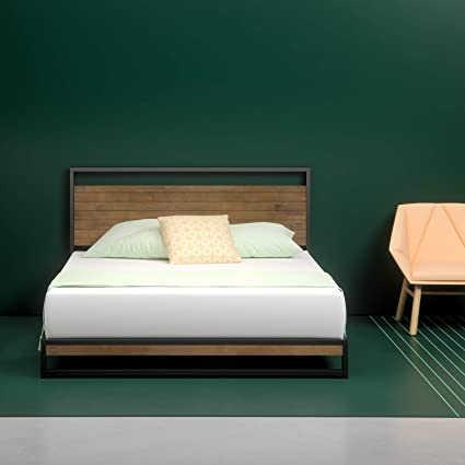 Zinus Suzanne Metal And Wood Platform Bed With Headboard Box Spring Optional Wood Slat Support Queen