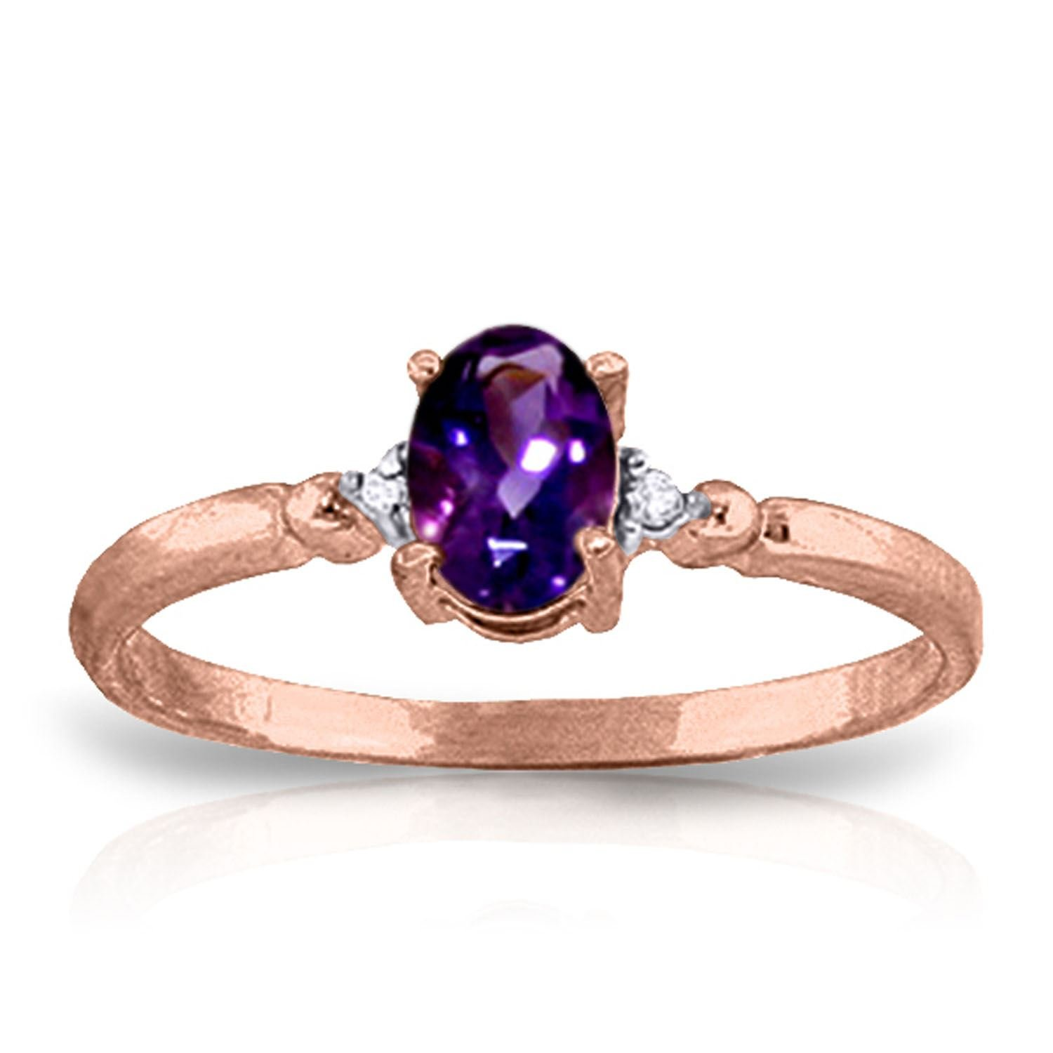 ALARRI 0.46 CTW 14K Solid Rose Gold Young Love Amethystr Diamond Ring With Ring Size 5